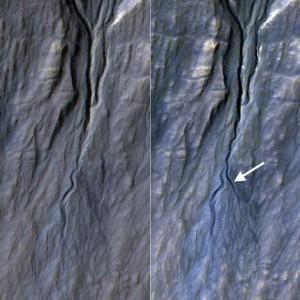На Марсе образовался новый овраг
