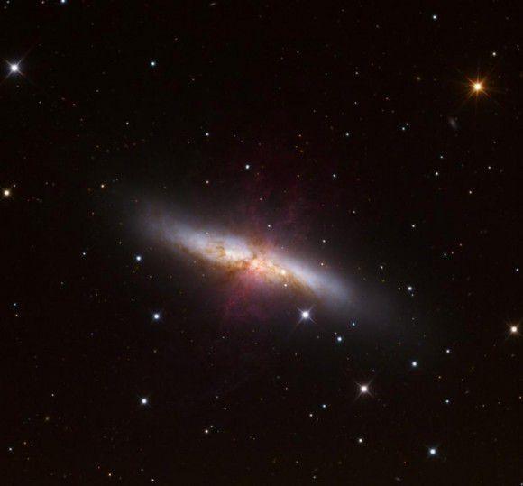 Фотография сверхновой звезды в галактике M 82