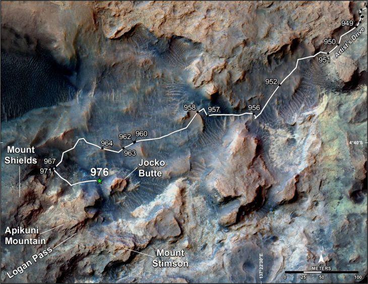 Проделанный путь Curiosity по горе Шарп